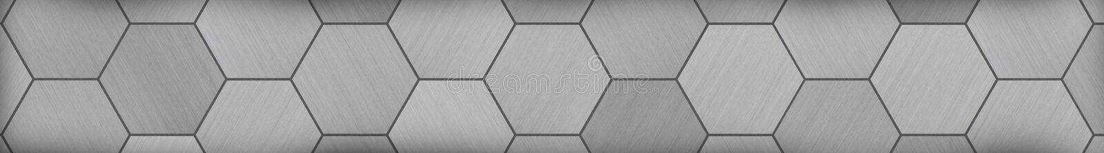 Hexagonal Aluminum Panoramic Metal Background (Letterbox Format). Hexagonal brushed alunimun tiles as an extra wide background stock photos