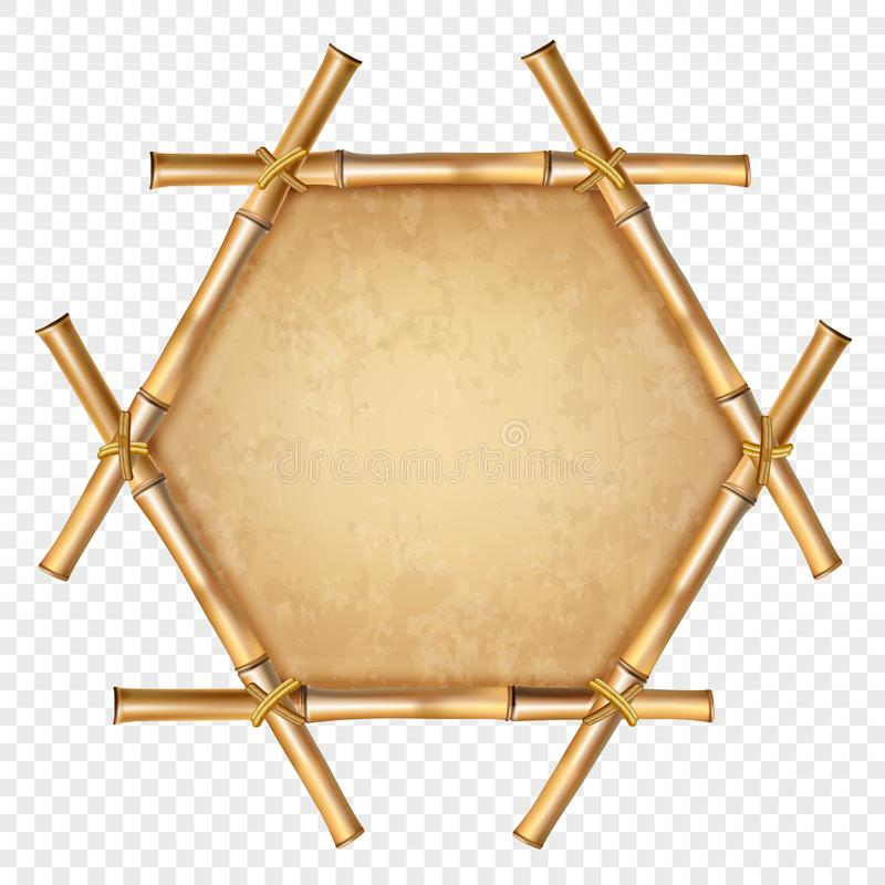 Hexagonal brown bamboo frame with rope and old canvas copy space royalty free illustration