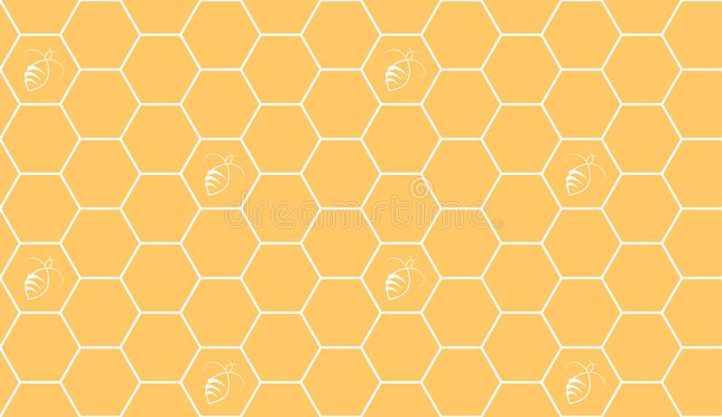 Hexagonal cell grid with beers seamless pattern. vector illustration