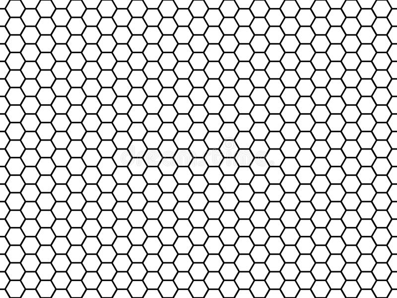 Hexagonal cell texture. Honey hexagon cells, honeyed comb grid texture and honeycombs fabric seamless pattern vector stock illustration