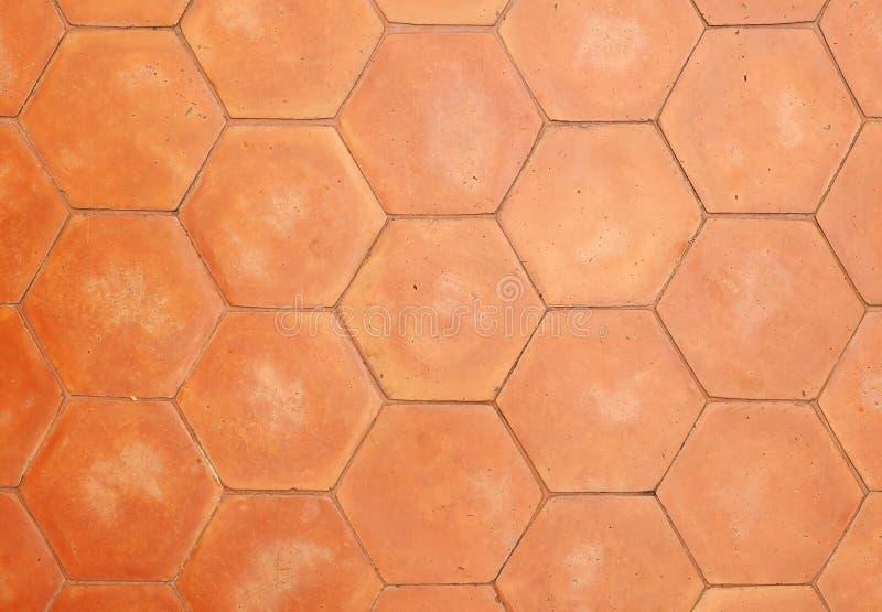 Hexagonal clay tiles royalty free stock photo