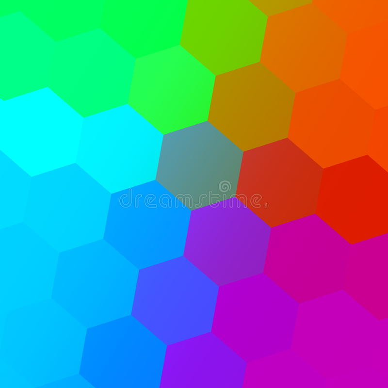 Hexagonal Color Spectrum. Colorful Abstract Background. Simple Geometric Art. Creative Mosaic Pattern. Digital Colored Graphic. stock illustration