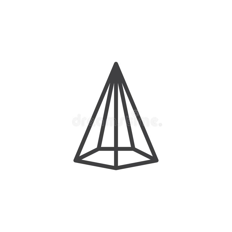 Hexagonal cone geometrical figure outline icon. Linear style sign for mobile concept and web design. Cone geometric shape simple line vector icon. Symbol, logo stock illustration