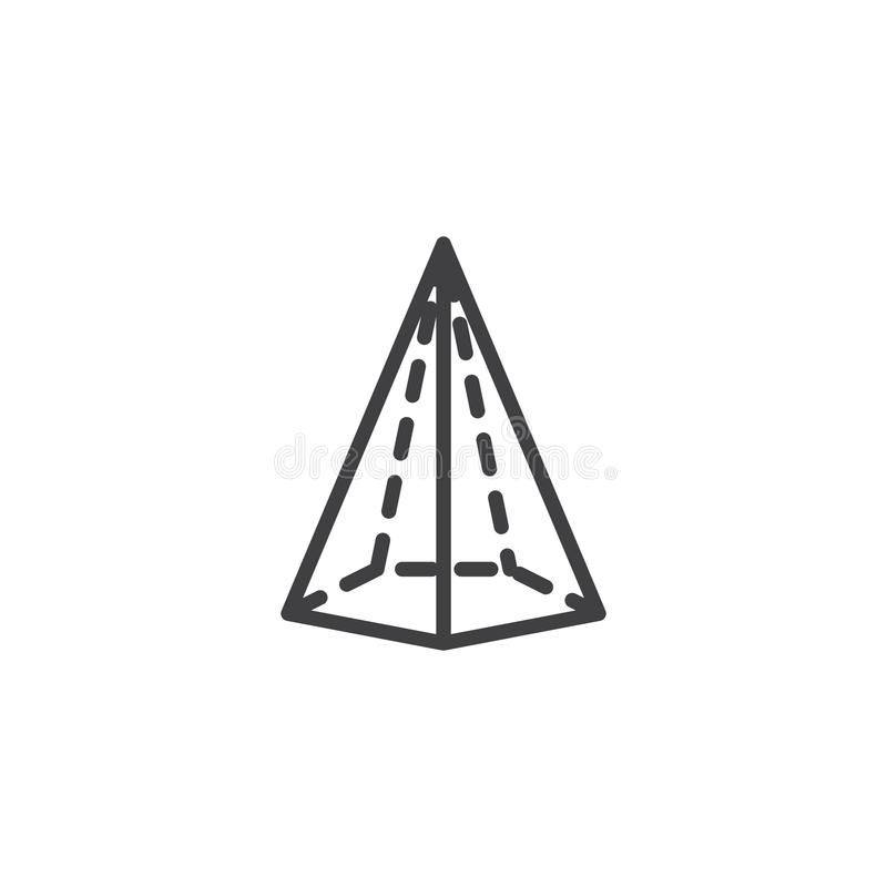 Hexagonal cone geometrical figure outline icon. Linear style sign for mobile concept and web design. Cone geometric shape simple line vector icon. Symbol, logo royalty free illustration