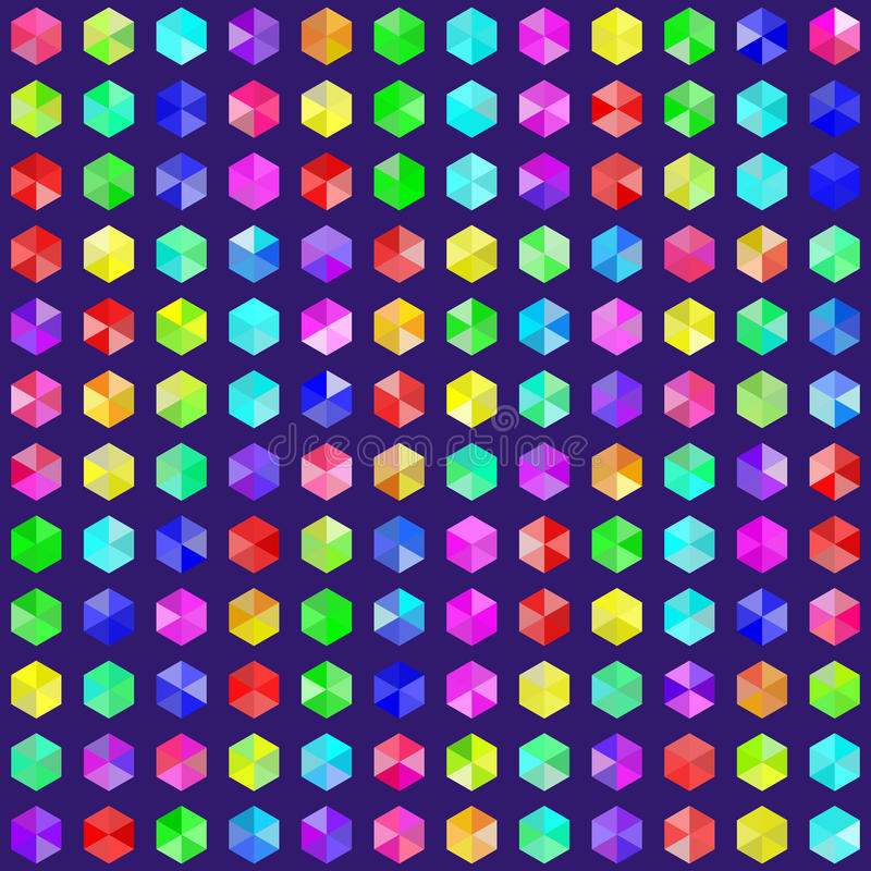 Hexagonal Gems in Random Rainbow Colors. EPS8 Vector. Hexagonal gems in random rainbow colors. EPS8 without transparency. Colors are generated by a script and stock illustration