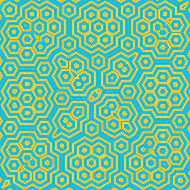 Hexagonal green neon caleidoscope effect Honey Comb Hex Pattern stock illustration