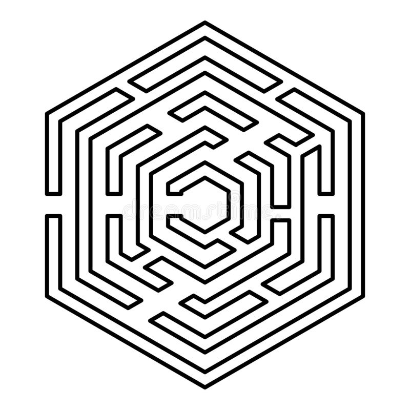 Hexagonal Maze Hexagon maze Labyrinth with six corner icon black color outline vector illustration flat style image. Hexagonal Maze Hexagon maze Labyrinth with royalty free illustration