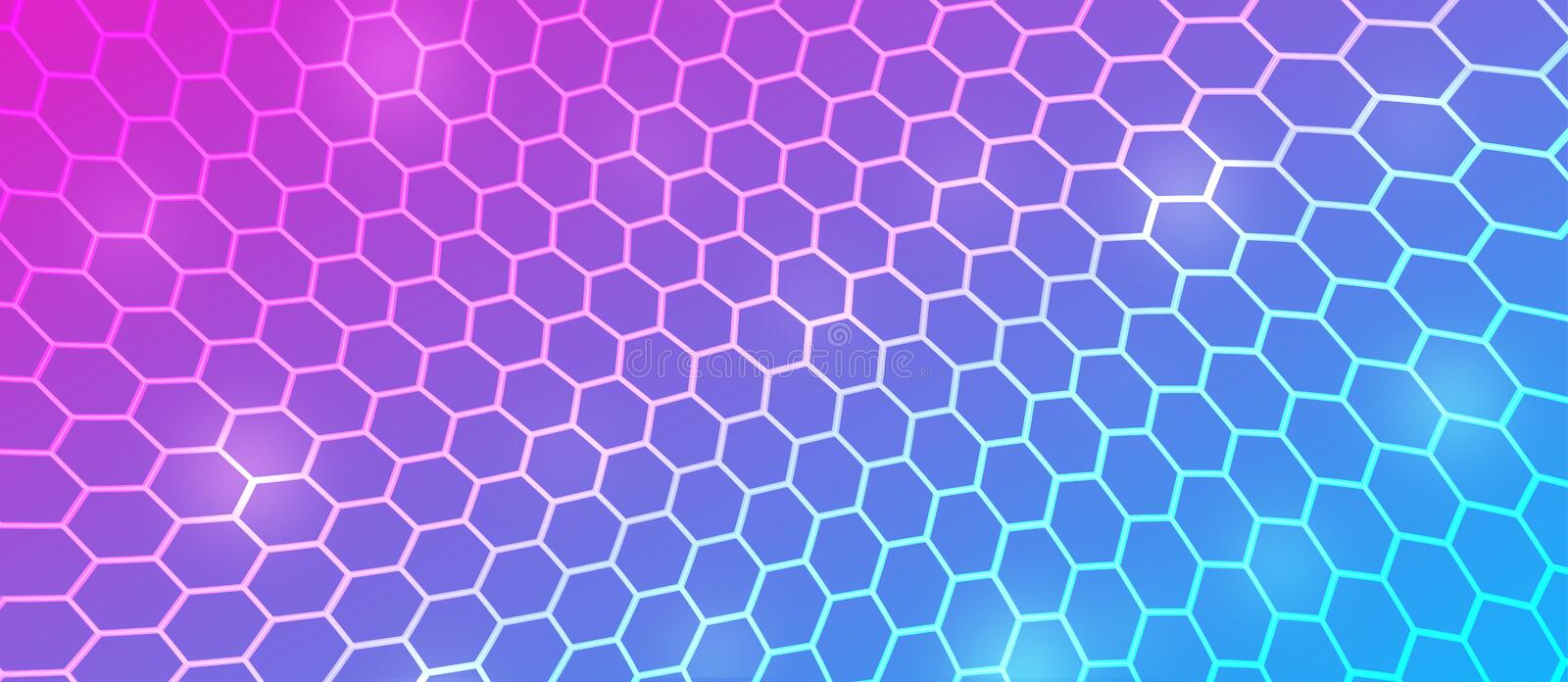 Abstract Curving Hexagonal Mesh in Pink, Blue and Purple Background royalty free illustration