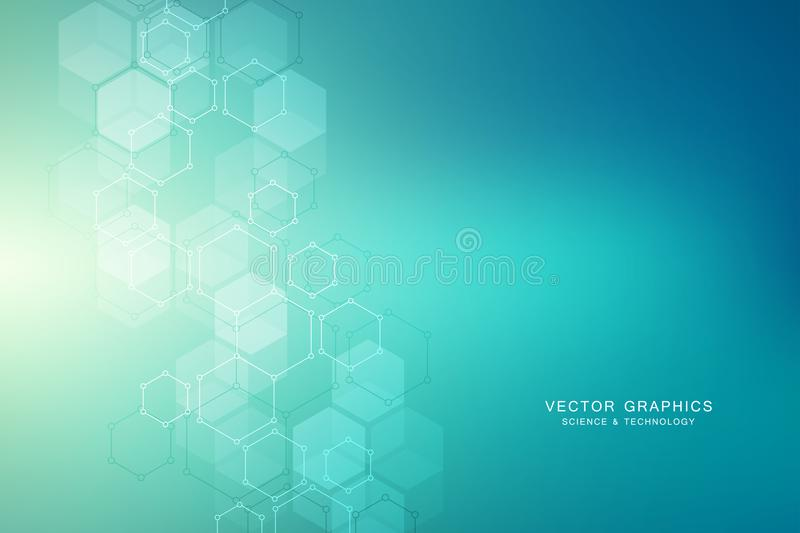 Hexagonal molecular structure for medical, science and digital technology design. Abstract geometric vector background. royalty free illustration