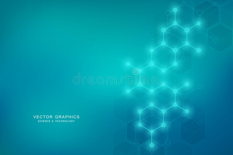 Hexagonal molecular structure for medical, science and digital technology design. Abstract geometric vector background. stock illustration