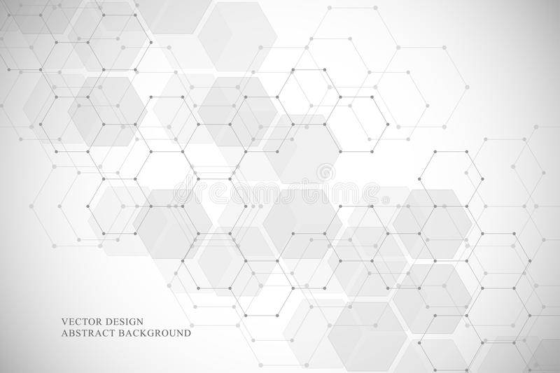 Hexagonal molecular structure for medical, science and digital technology design. Abstract geometric vector background. vector illustration