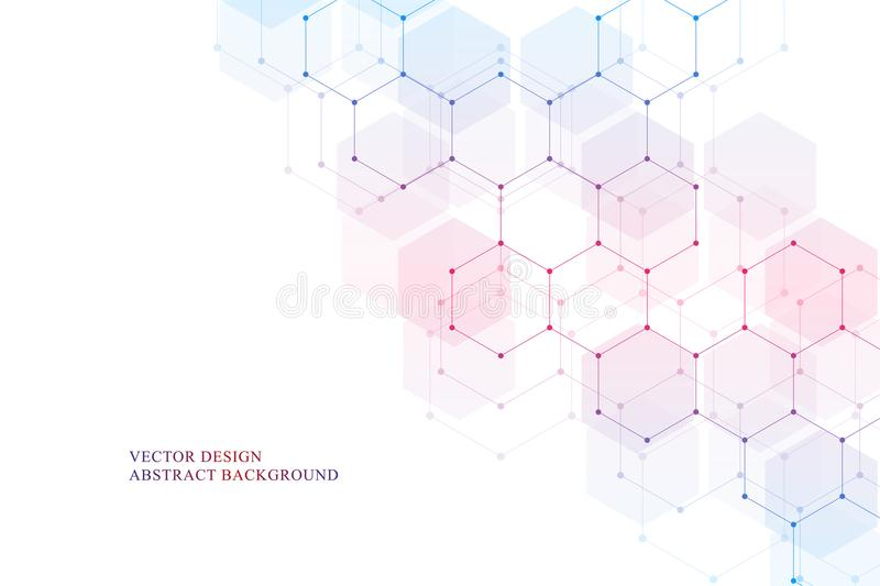 Hexagonal molecular structure for medical, science and digital technology design. Abstract geometric vector background. Hexagonal molecular structure for royalty free illustration
