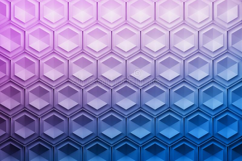Repeating hexagon pattern in blue and purple colors. vector illustration