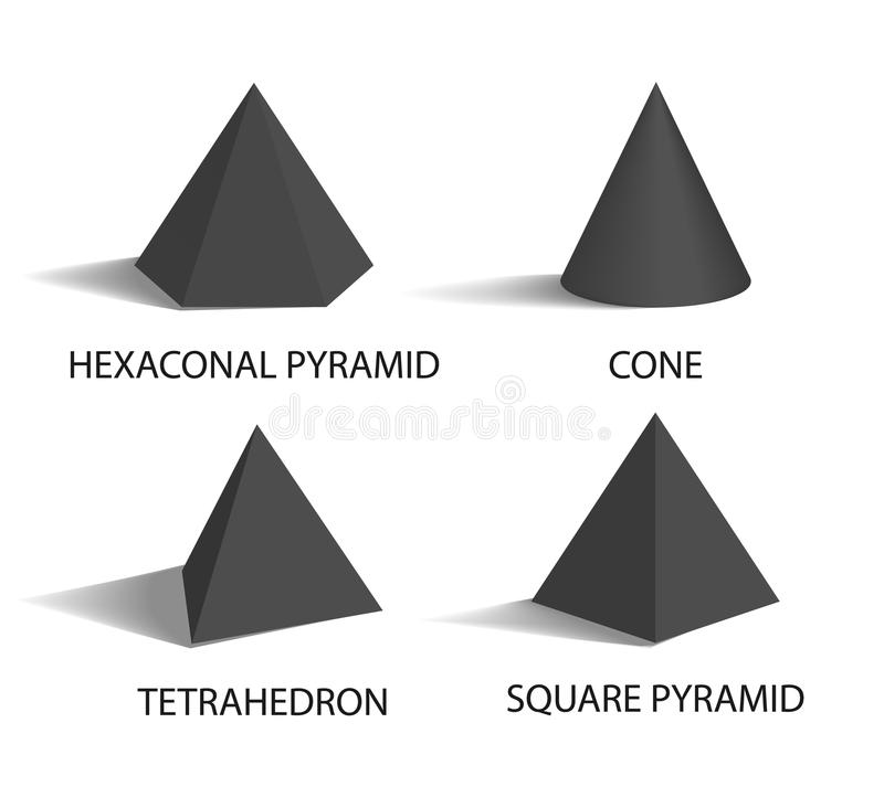 Hexagonal Pyramid Set Poster Vector Illustration. Hexagonal pyramid, geometric shapes, cone and tetrahedron, square pyramid, shapes with headlines and titles stock illustration