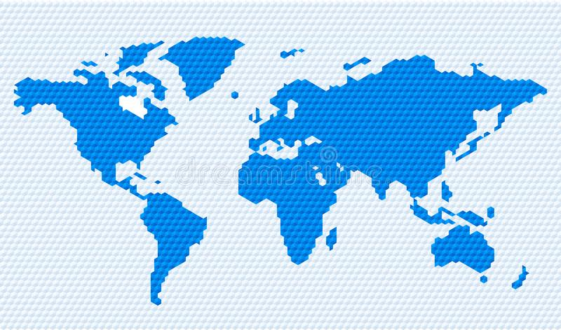 Hexagonal restricted world map image in blue tones. Vector illustration. Hexagonal restricted world map image in blue tones royalty free illustration