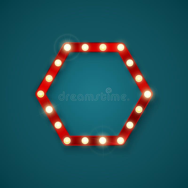Hexagonal retro banner. Signboard in a motel or billboard in retro style. Vector illustration.  royalty free illustration