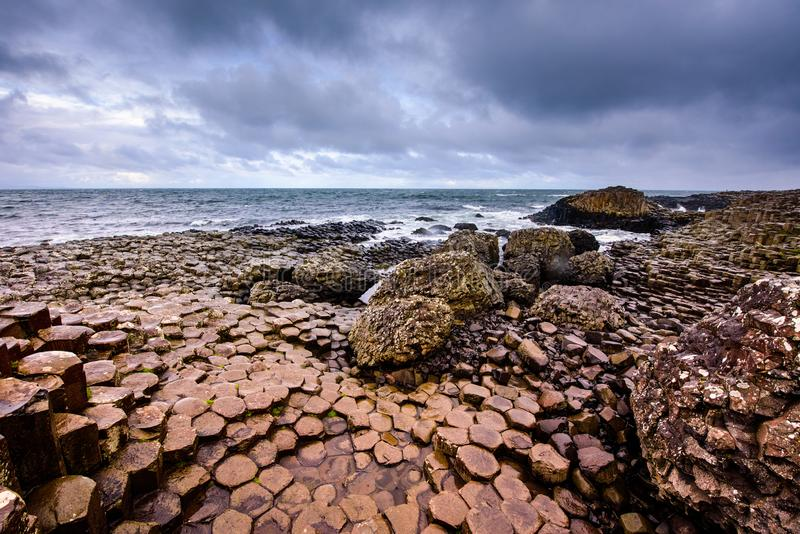 Hexagonal rocks at the giant causeway stock image