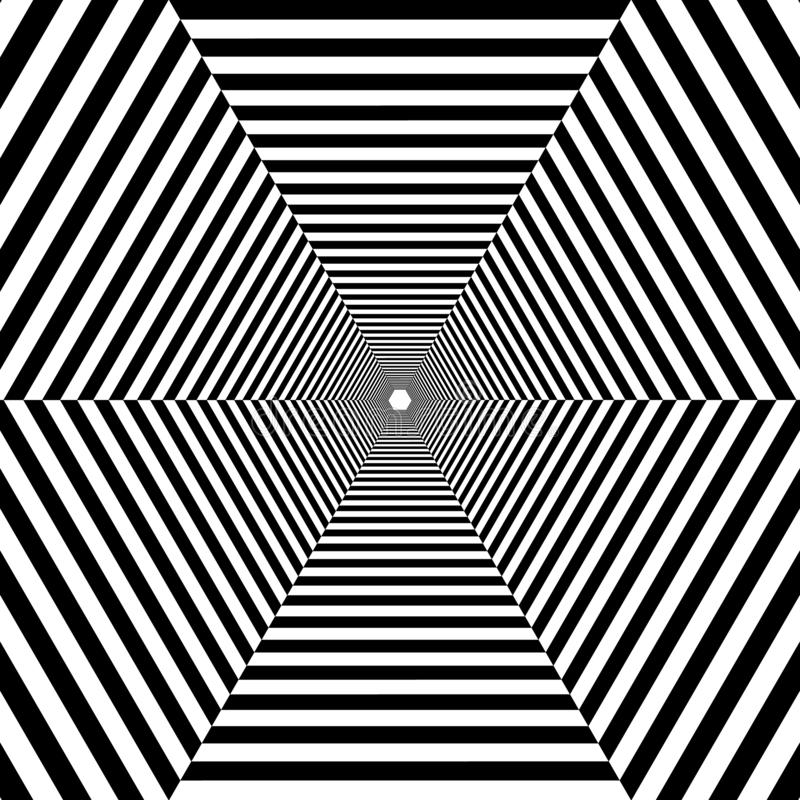 Hexagonal striped tunnel out into the distance, black and white royalty free stock photo