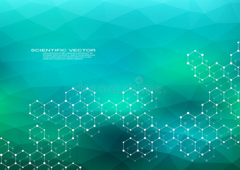 Hexagonal structure molecule dna of neurons system genetic and chemical compounds medical or scientific background vector illustration
