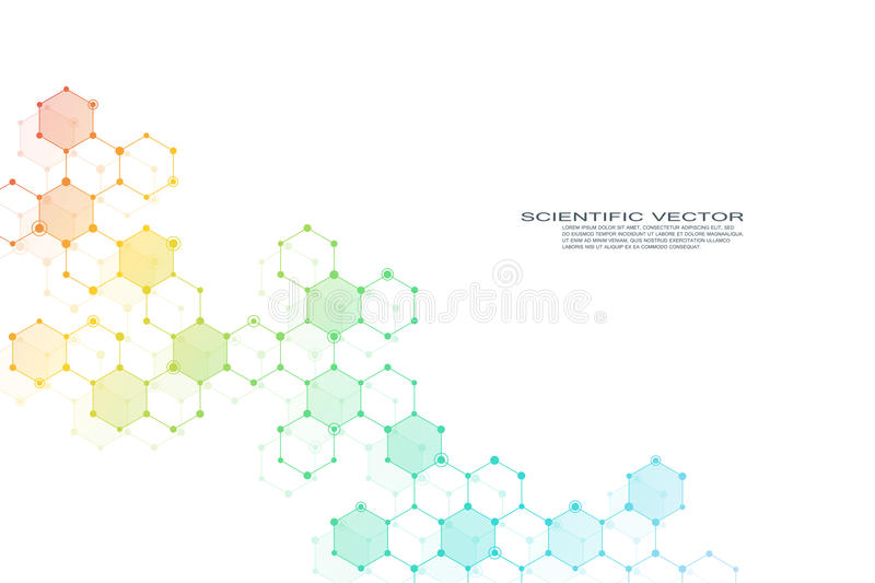 Hexagonal structure molecule dna of neurons system, genetic and chemical compounds. Vector illustration stock illustration