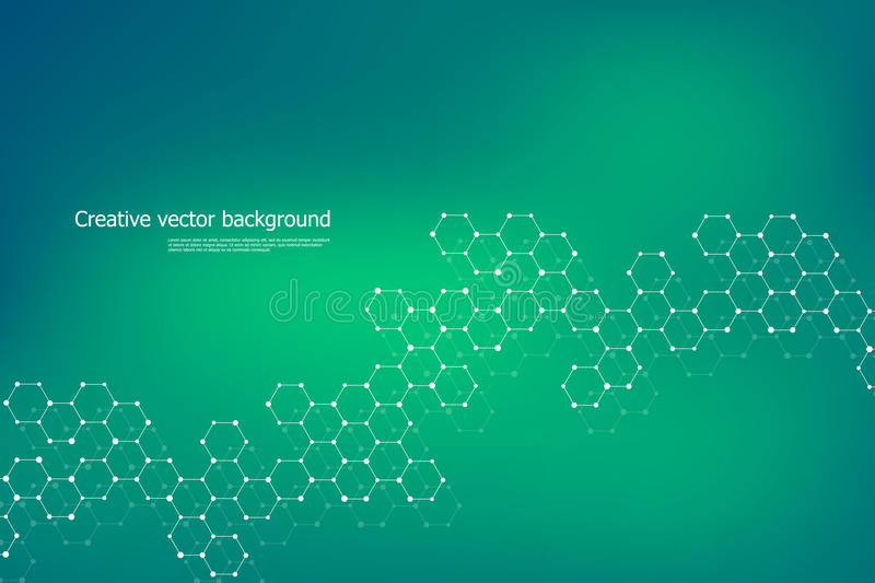 Hexagonal structure molecule dna of neurons system, genetic and chemical compounds. Vector illustration. royalty free illustration