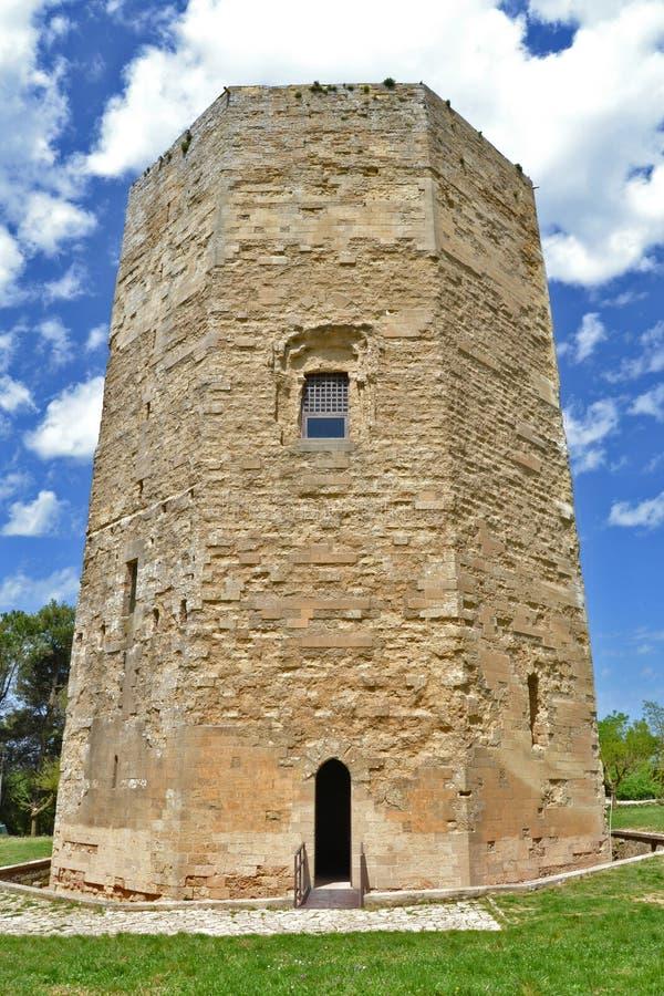 Hexagonal tower, Enna. Hexagonal tower of Enna, Sicily stock photos