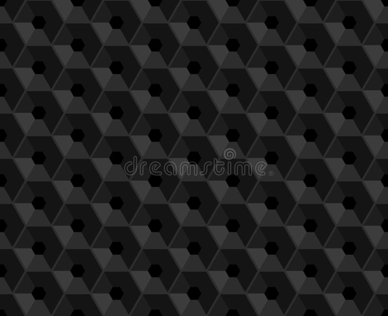 Hexagonal vector black embossed seamless pattern. Plastic hexagon grid dark background. Hexagon cell with hole endless texture. stock illustration