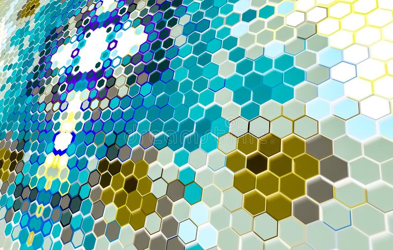 Hexagonal wallpaper HD Background / textured. Tilt Hexagon white blue and yellow wallpaper digitally generated background, hexagonal, chemical, new, pattern stock illustration