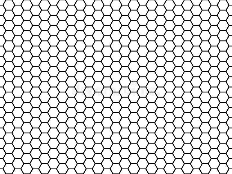Hexagonale celtextuur Honings hexagon cellen, honeyed textuur van het kamnet en naadloze het patroonvector van de honingratenstof stock illustratie