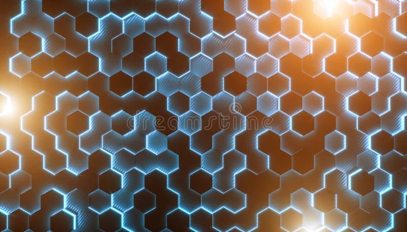 Hexagonale 3d meetkunde royalty-vrije illustratie