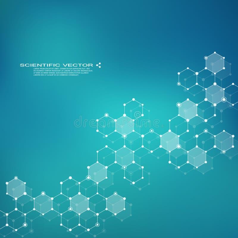 Hexagonale molecule Moleculaire structuur genetische en chemische samenstellingen Chemie, geneeskunde, wetenschap en technologie stock illustratie
