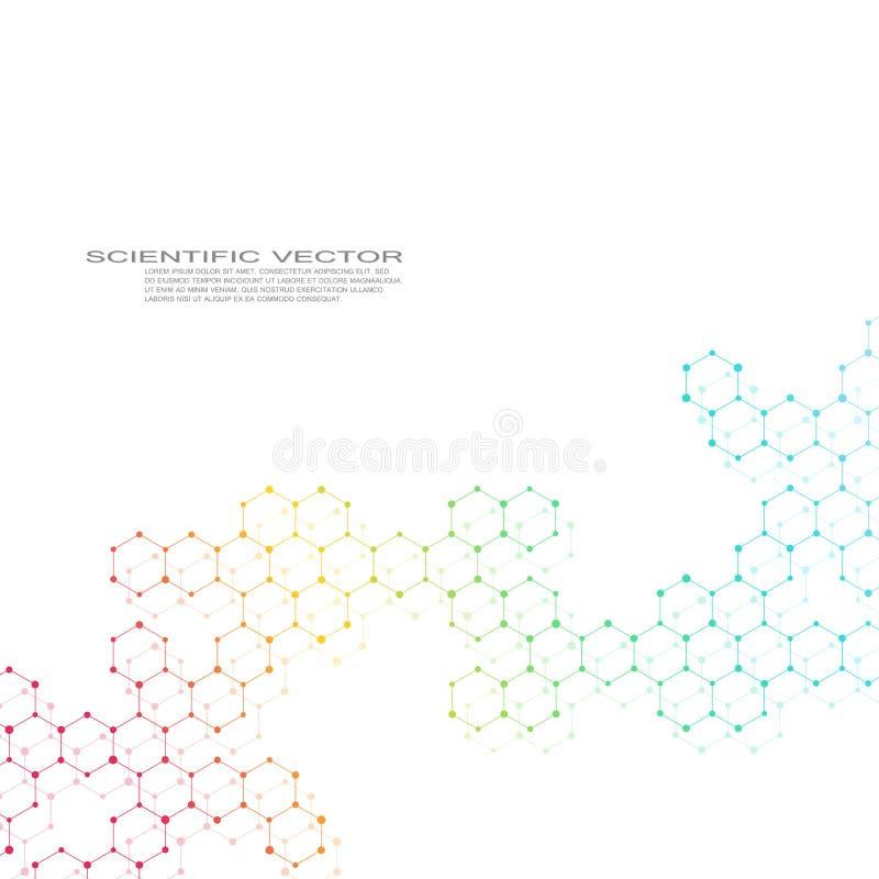 Hexagonale molecule Moleculaire structuur genetische en chemische samenstellingen Chemie, geneeskunde, wetenschap en technologie royalty-vrije illustratie