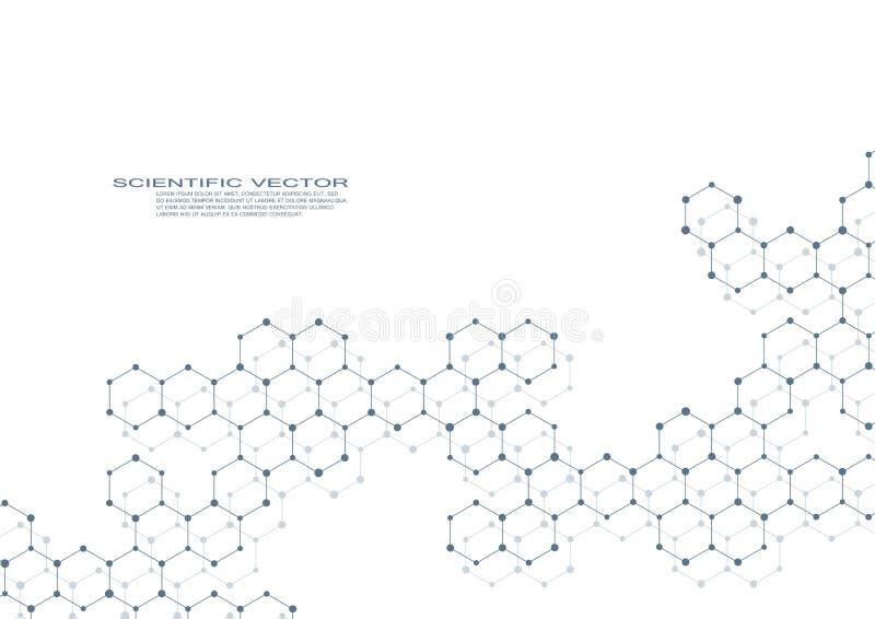 Hexagonale moleculedna Moleculaire structuur van neuronensysteem genetische en chemische samenstellingen Chemie, geneeskunde royalty-vrije illustratie