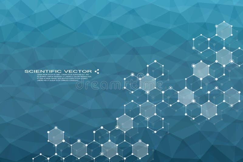 Hexagonale moleculedna Moleculaire structuur van neuronensysteem genetische en chemische samenstellingen Chemie, geneeskunde stock illustratie