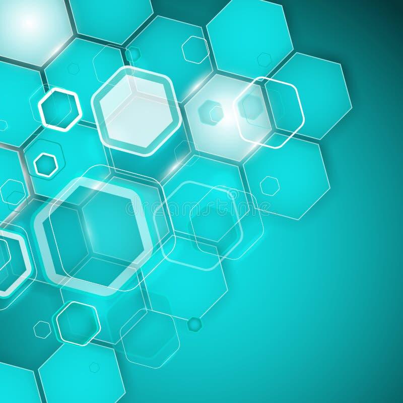Hexagone abstrait de fond de turquoise Illustration de vecteur illustration stock