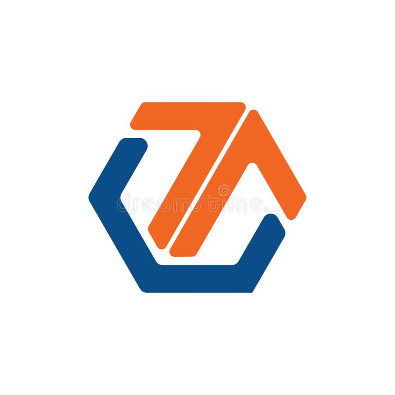 Hexagone abstrait de lettre de T vers le haut de flèche Logo Symbol illustration libre de droits