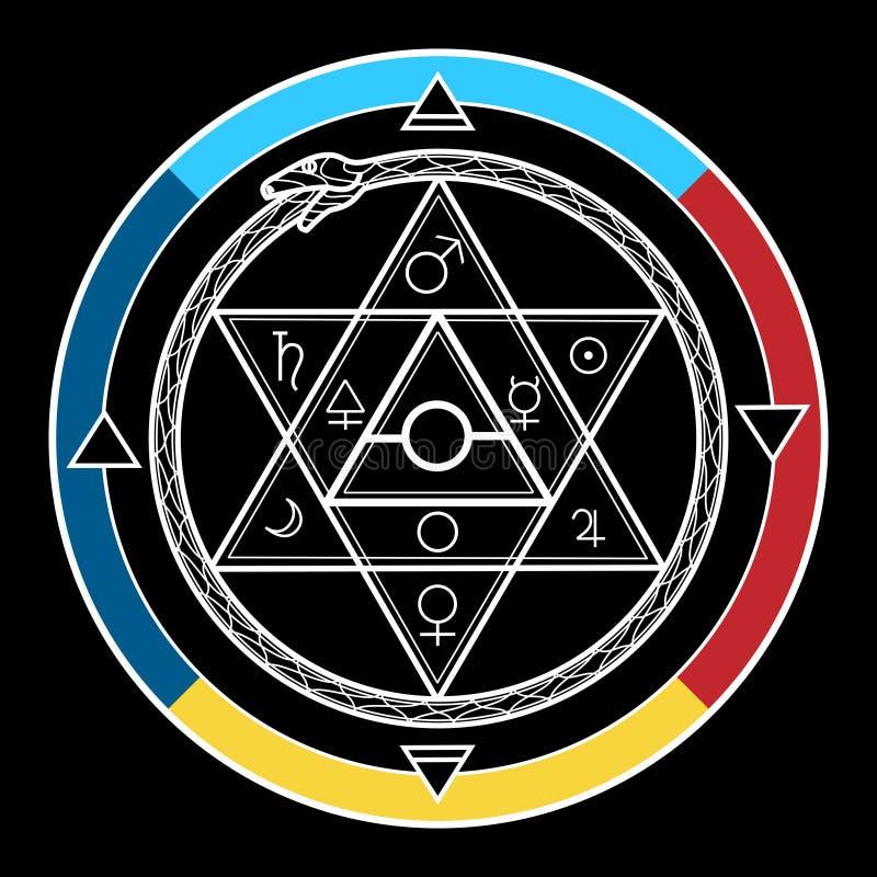 Hexagone d'alchimie en cercle illustration libre de droits