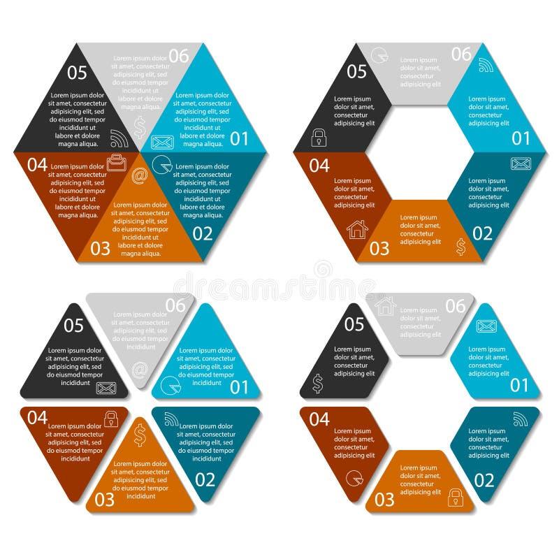 Hexagone de cercle infographic avec 6 options illustration libre de droits