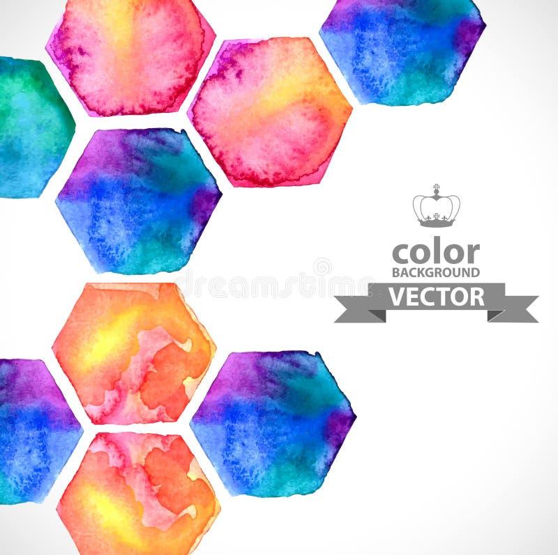 Hexagone lumineux d'aquarelle au-dessus de blanc illustration de vecteur