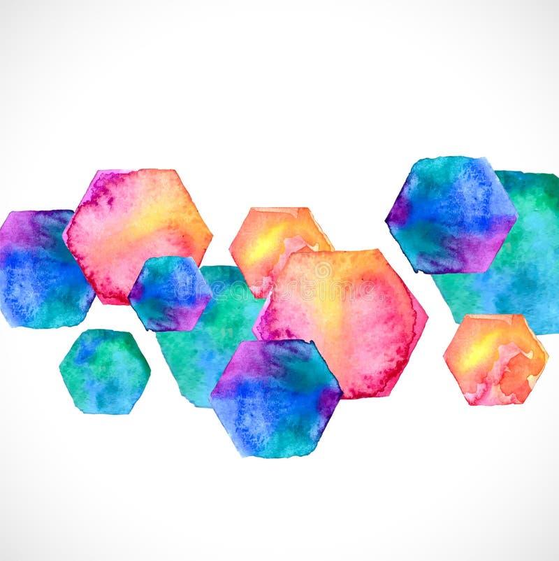 Hexagone lumineux d'aquarelle au-dessus de blanc illustration libre de droits
