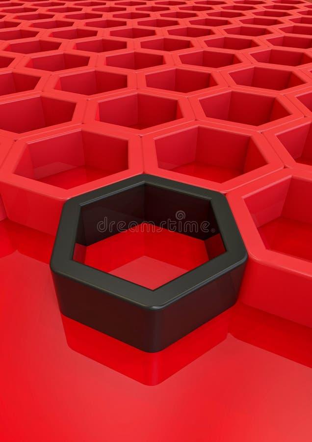 Hexagone rouge et noir illustration de vecteur