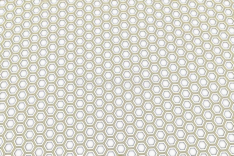 Hexagones blancs avec les côtés rougeoyants jaunes illustration stock