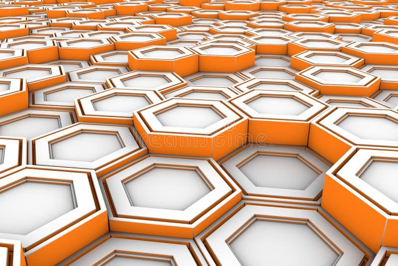 Hexagones blancs avec les côtés rougeoyants oranges illustration stock