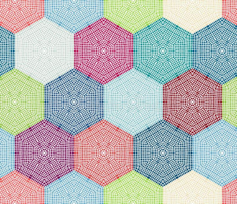 Hexagones colorés de crochet illustration stock