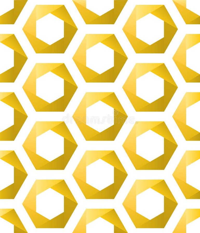 Hexagones d'or sans couture comme nids d'abeilles illustration de vecteur