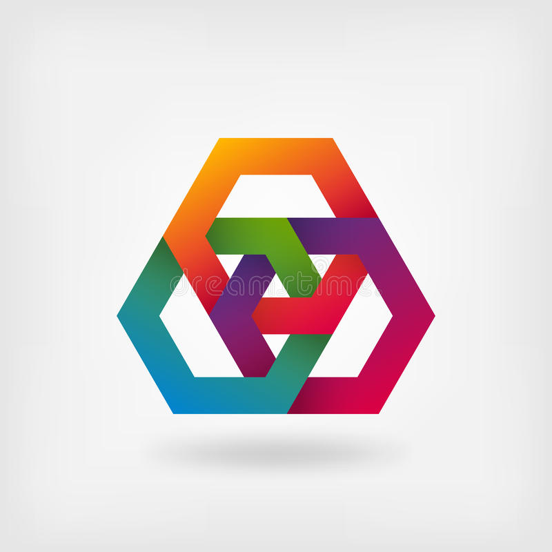 Hexagones de verrouillage abstraits dans des couleurs d'arc-en-ciel illustration stock