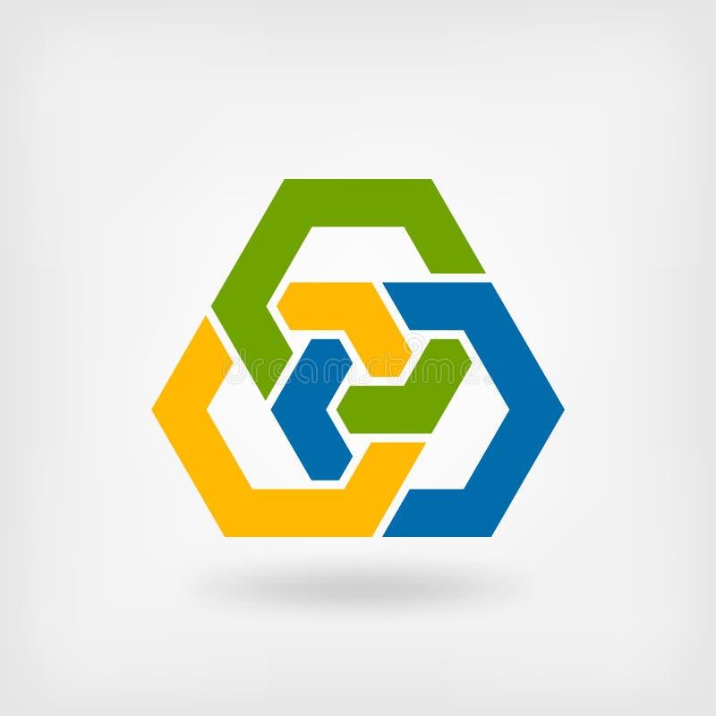 Hexagones de verrouillage tricolores abstraits illustration de vecteur