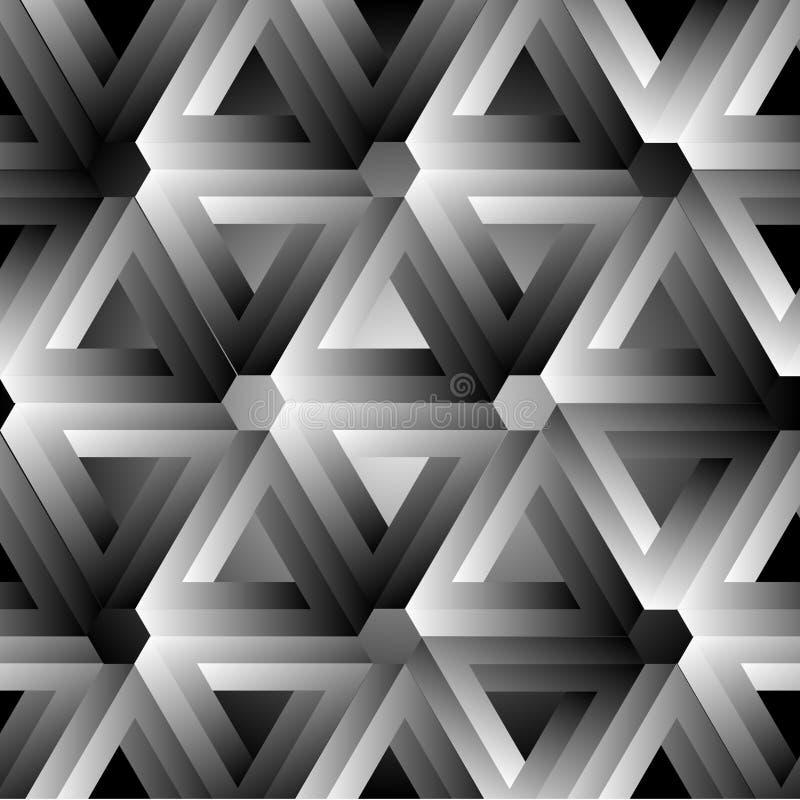 Hexagonkaleidoskopoptische täuschung, die penrose Dreiecke bildet stock abbildung