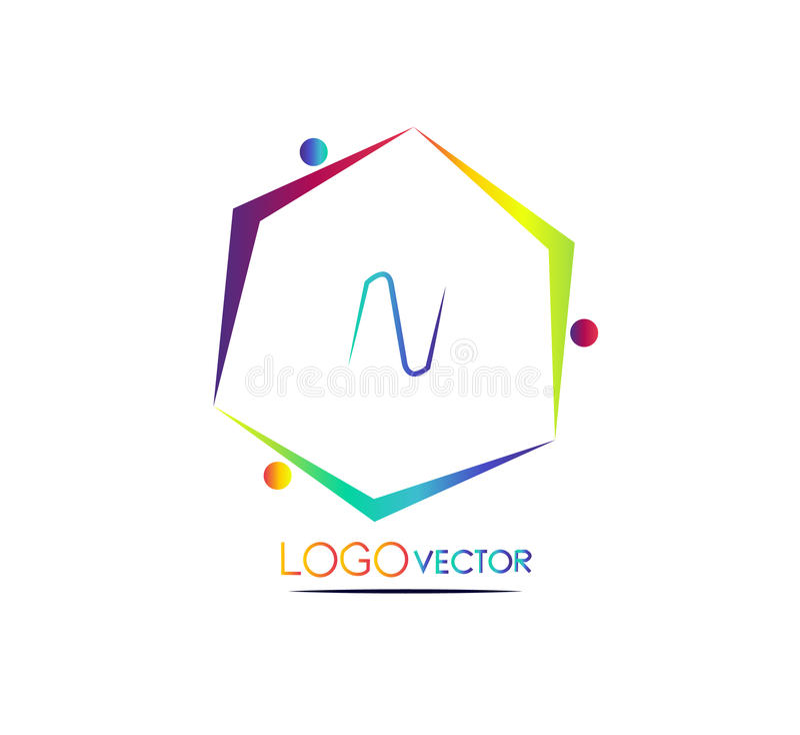 Hexagonlogovektor lizenzfreie stockfotos