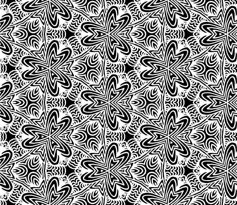 Hexagonmandalamuster Bunte grafische Abbildung Stammes- freihändiger Hexagonmandaladruck Ethnischer Hexagonmandaladruck für T-Shi stock abbildung